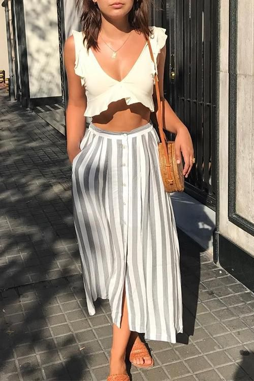 High waist button front striped midi skirts | Girlfriend is Better