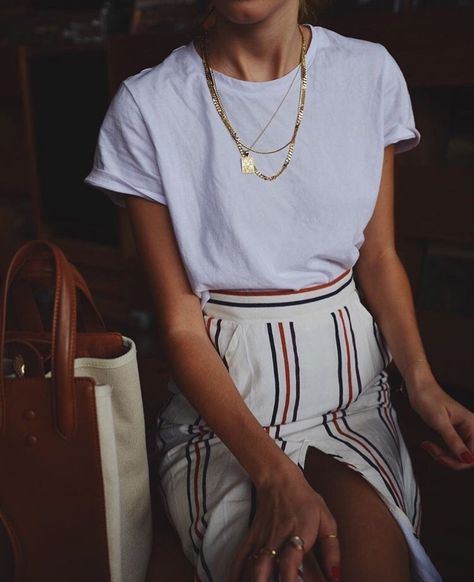 Striped midi skirts high leg slit | gold chains white tee | Girlfriend is Better