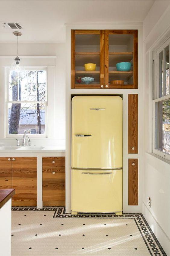 Summer Hygge kitchen yellow vintage refrigeration mid-century modern | Girlfriend is Better