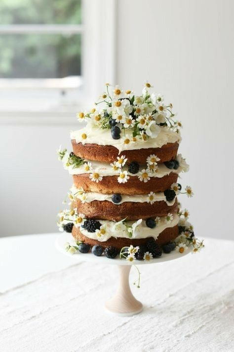 Summer Hygge 4 layer cake edible flowers berries | Girlfriend is Better