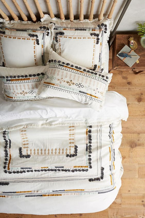 Summer Hygge white embroidered bedding bedroom wood floor | Girlfriend is Better