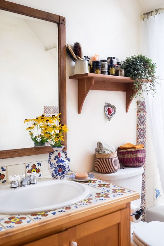 Summer Hygge bathroom farmhouse floral tile open shelving | Girlfriend is Better