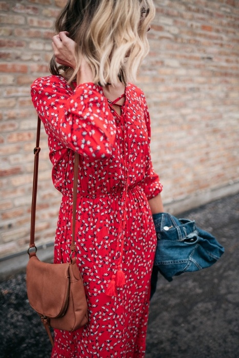 Red floral country dresses   tan saddle crossbody purse denim jeacket   Girlfriend is Better