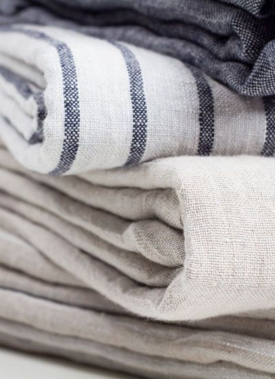 Striped linen bedding | blankets neutrals | Girlfriend is Better