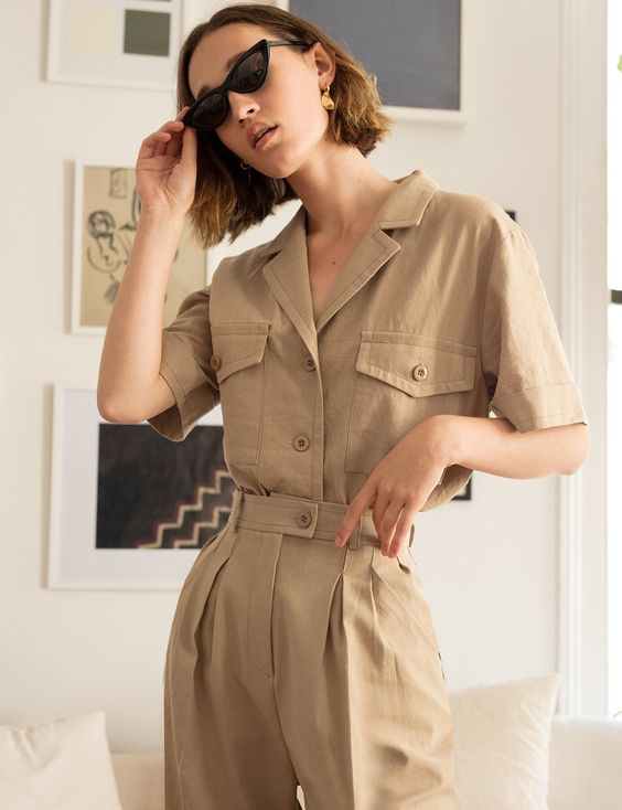 Ranch style khaki belted jumpsuit tiny sunglasses | Girlfriend is Better