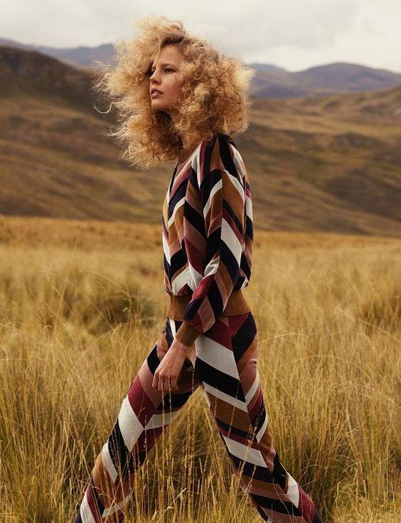 Ranch style brown zig zag pantsuit | Girlfriend is Better