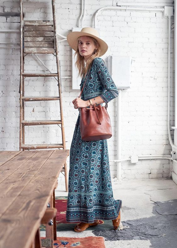 Ranch style floral maxi dress bucket bag cowboy hat | Girlfriend is Better