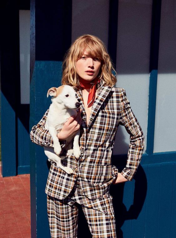 Ranch style work wear plaid pantsuit neck scarf | Girlfriend is Better
