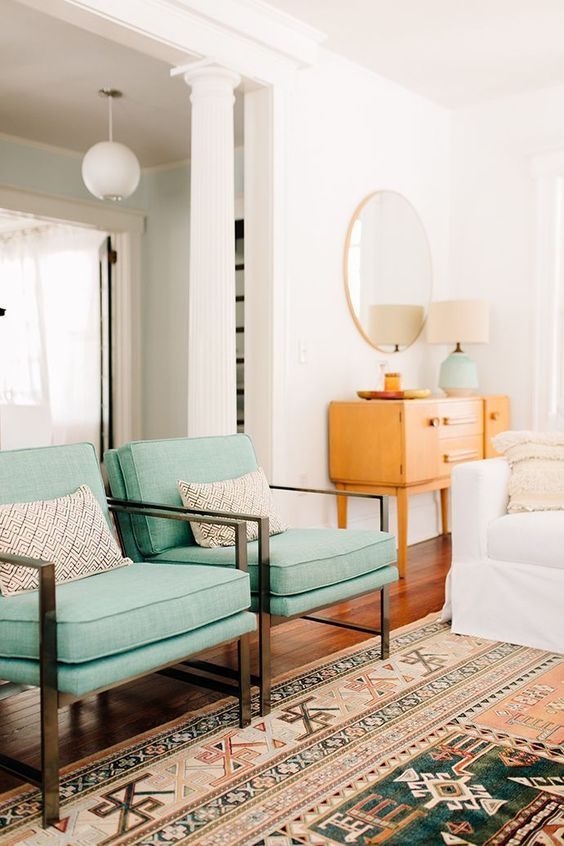 Virgo astrology home decor guide | Mid-century modern chairs pastel green | Girlfriend is Better