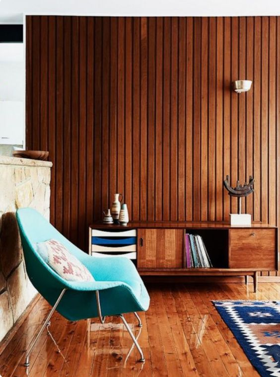 Wood element paneling living room mid-century modern Feng Shui | Girlfriend is Better