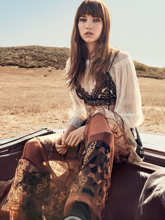 Bourgeois Bohemian bell bottoms sheer blouse embroidery   Girlfriend is Better