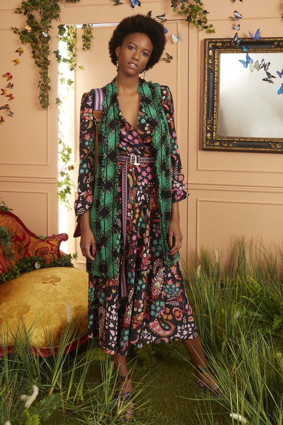Bourgeois Bohemian print mixing floral dress vest belt | Girlfriend is Better