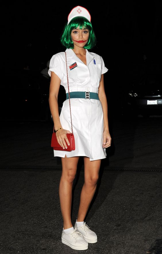 celebrity Halloween costumes | Joker nurse | green wig all white dress | Girlfriend is Better