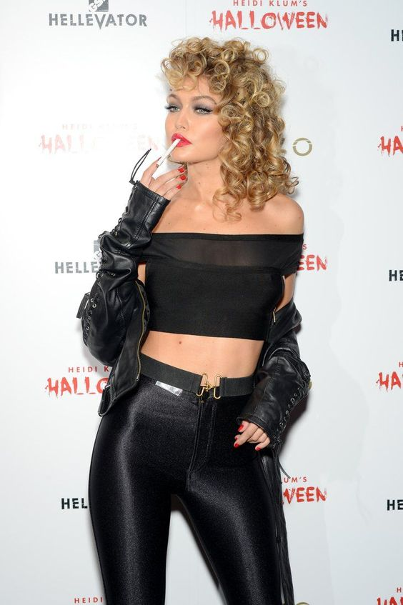 celebrity Halloween costumes | Sandy Grease | black crop top high-waist | Girlfriend is Better