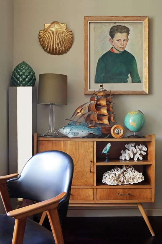 sideboard styling mid-century modern | shells portraits random people credenza | Girlfriend is Better