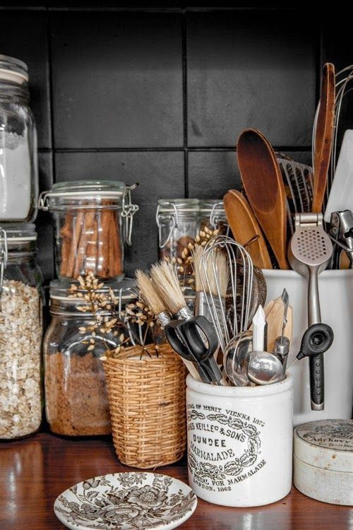Fall Hygge kitchen canisters wood spoons organization   Girlfriend is Better