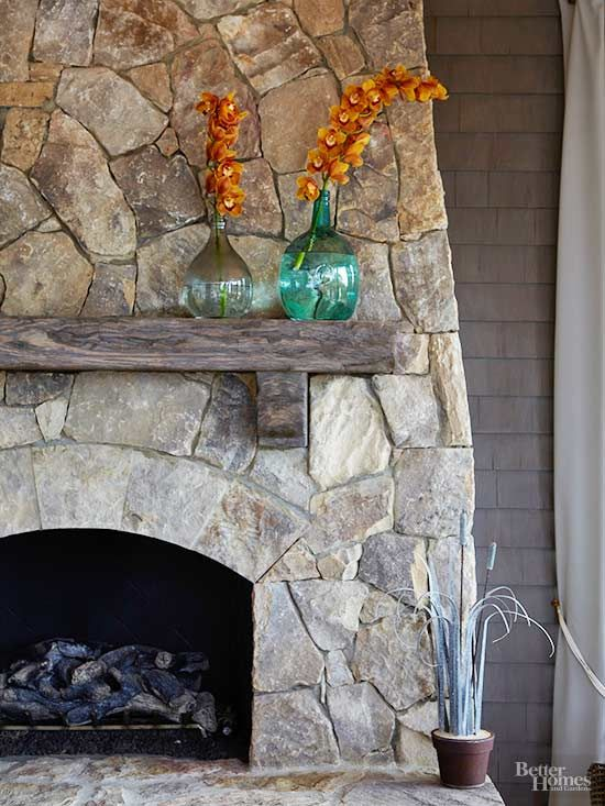 Fall Hygge fireplace decor rustic stone wood mantle | Girlfriend is Better
