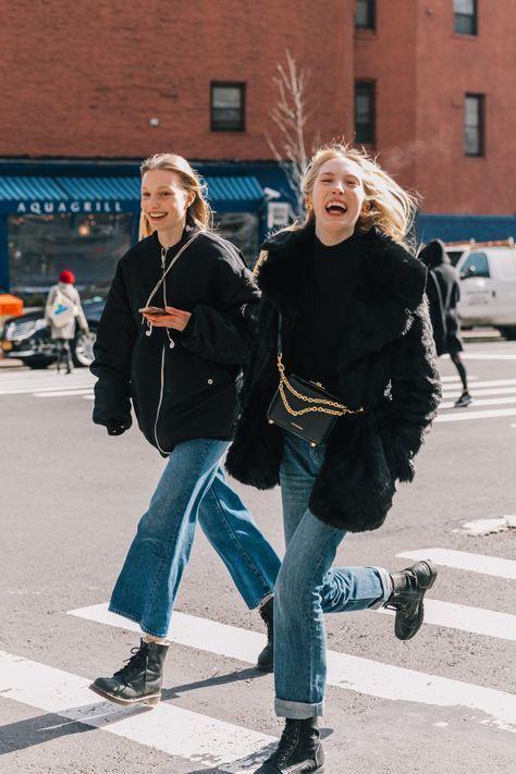 High-water pants cropped denim black coats boots | Girlfriend is Better