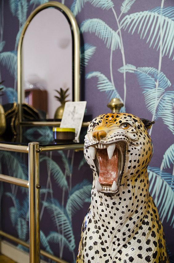 jungle decor eclectic Bohemian | cheetah gold dressing table wallpaper | Girlfriend is Better