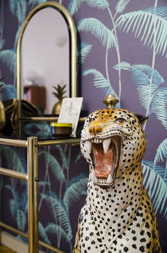 jungle decor eclectic Bohemian | cheetah gold dressing table wallpaper | Girlfriend is Better