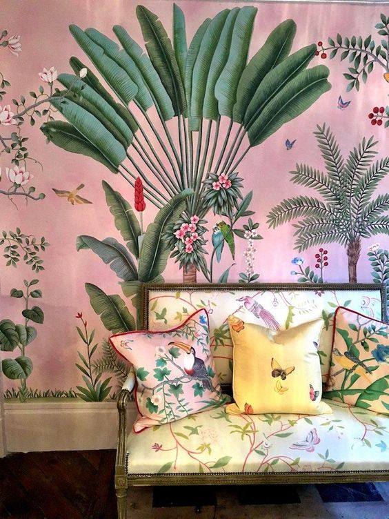 jungle decor pink tropical wallpaper chaise silk fabric | Girlfriend is Better