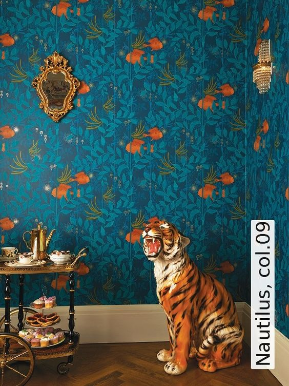 jungle decor blue wallpaper ceramic tiger | Girlfriend is Better