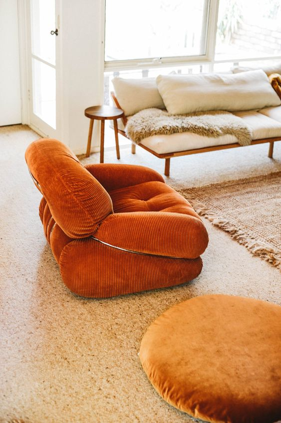 fire element Feng Shui | orange bohemian chair living room | Girlfriend is Better