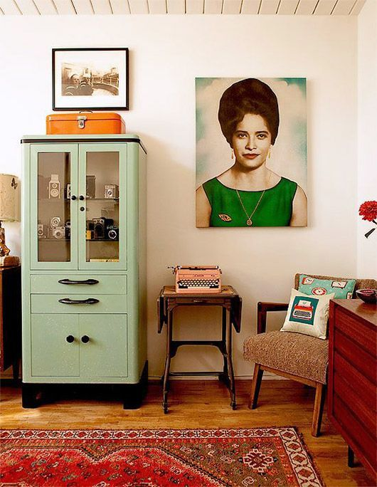 fire element Feng Shui | mid-century modern living room green cabinet orange rug | Girlfriend is Better