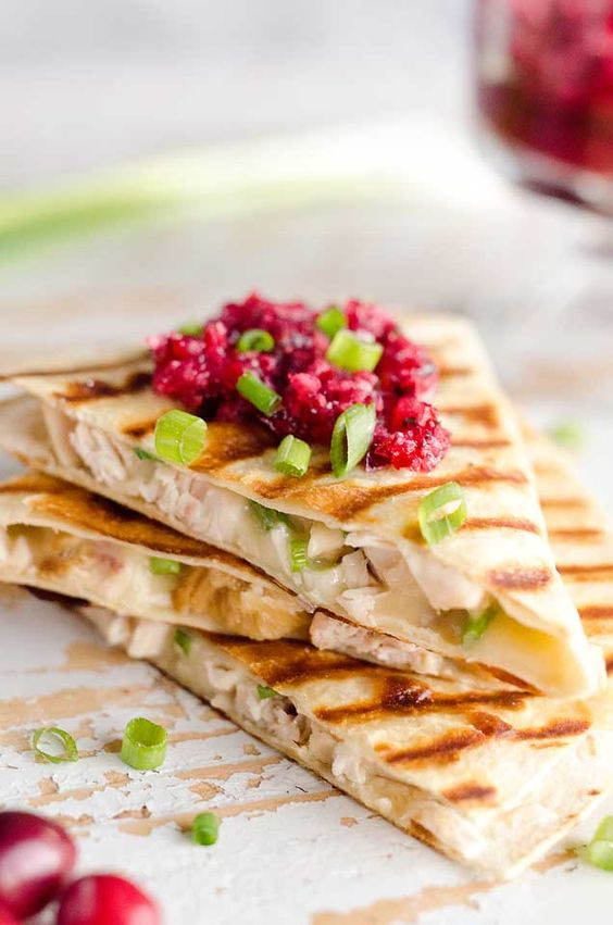 Thanksgiving leftovers recipe | You are here: Home / Healthy Recipes / Light Cranberry Turkey Quesadilla Light Cranberry Turkey Quesadilla | Girlfriend is Better