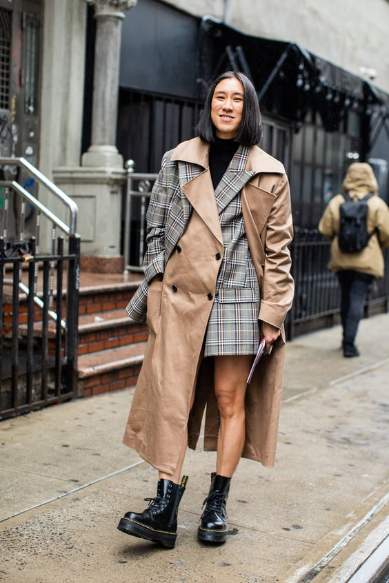trench coats deconstructed double-breasted blazer plaid | Girlfriend is Better