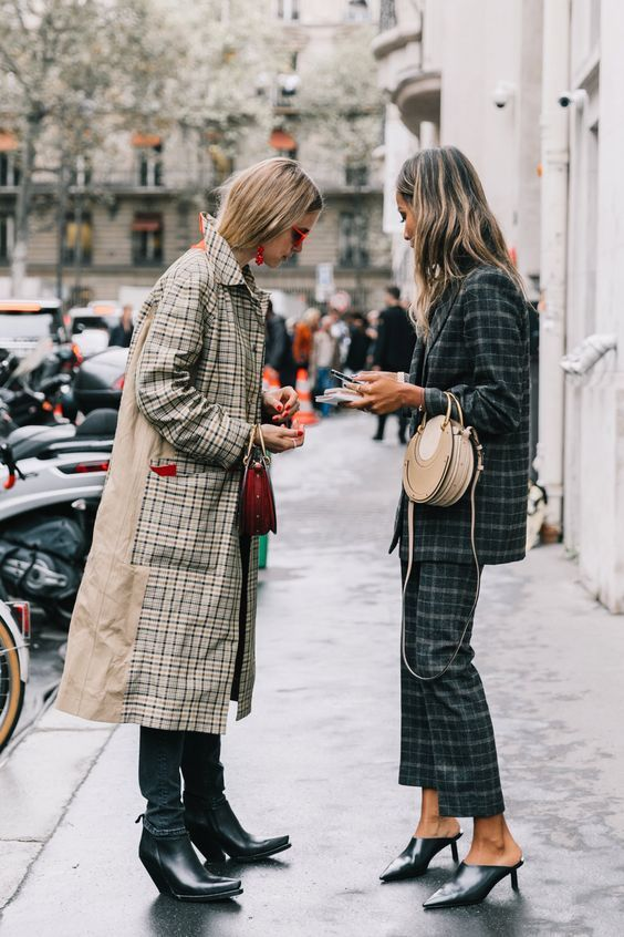 trench coats | plaid front panel khaki full-length | Girlfriend is Better