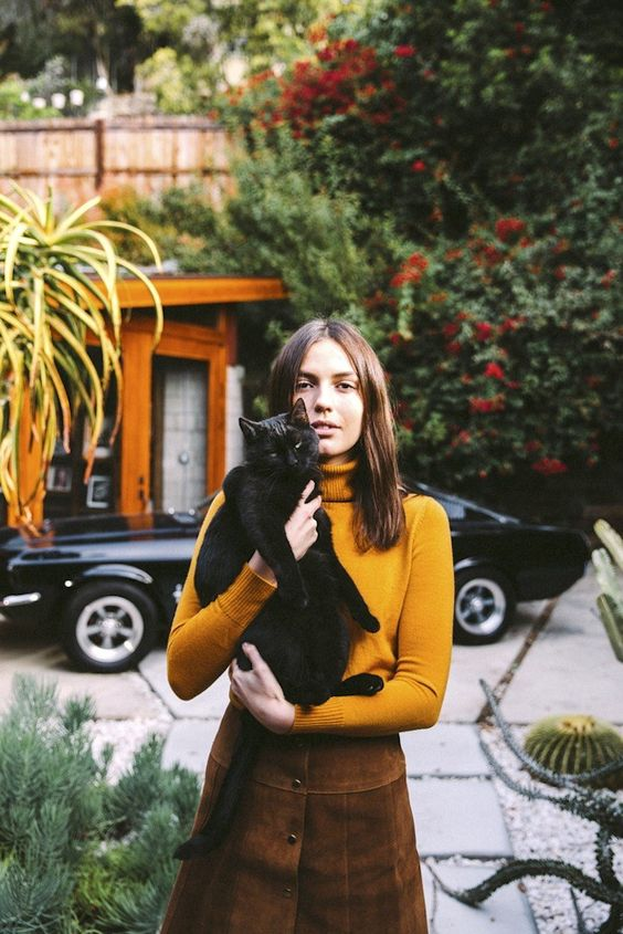 gold turtleneck brown suede skirt 70s s   Girlfriend is Better
