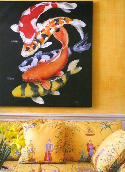 chinoiserie Dorothy Draper fabric koi panting | Girlfriend is Better