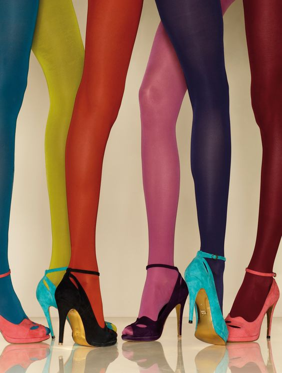 colored tights high heels ankle strap   Girlfriend is Better