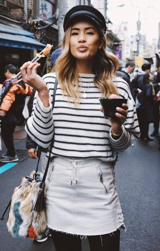 black colored tights | French street style striped shirt | Girlfriend is Better