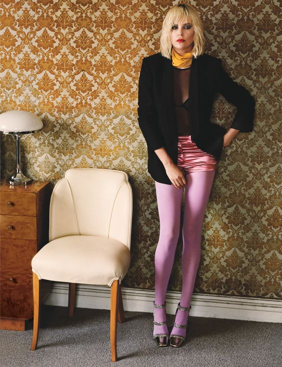 colored tights lavender bourgeois Bohemian mini skirt | Girlfriend is Better