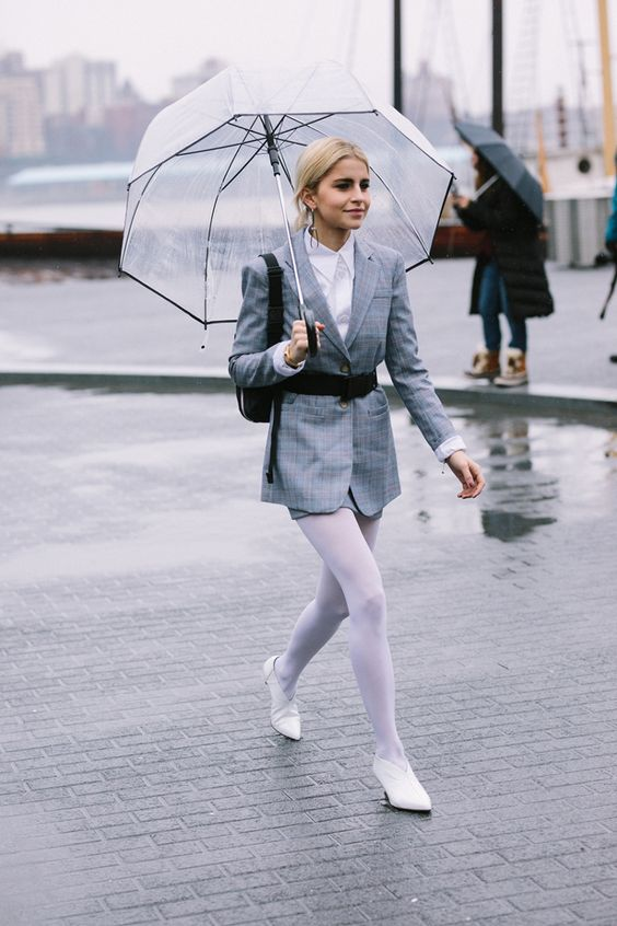 white colored tights shorts suit monochromatic | Girlfriend is Better