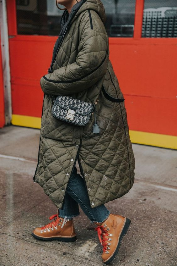 full-length coats puffer army green hiking boots high-water pants   Girlfriend is Better