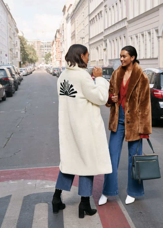 full-length coats faux fur embroidered white high-water pants   Girlfriend is Better