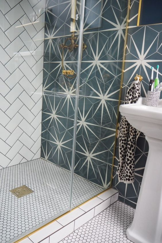 graphic tile | mid-century modern starburst bathroom | Girlfriend is Better