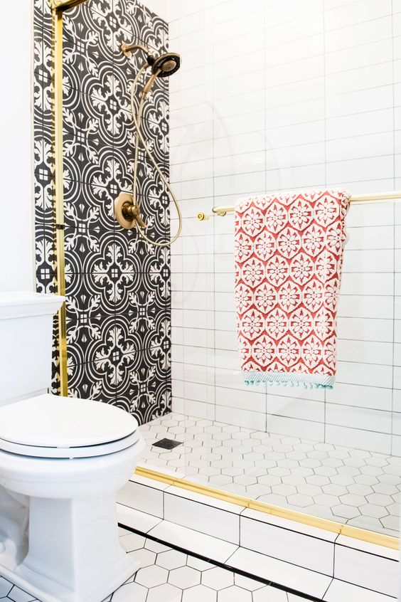 graphic tile | Spanish style glam bathroom shower | Girlfriend is Better