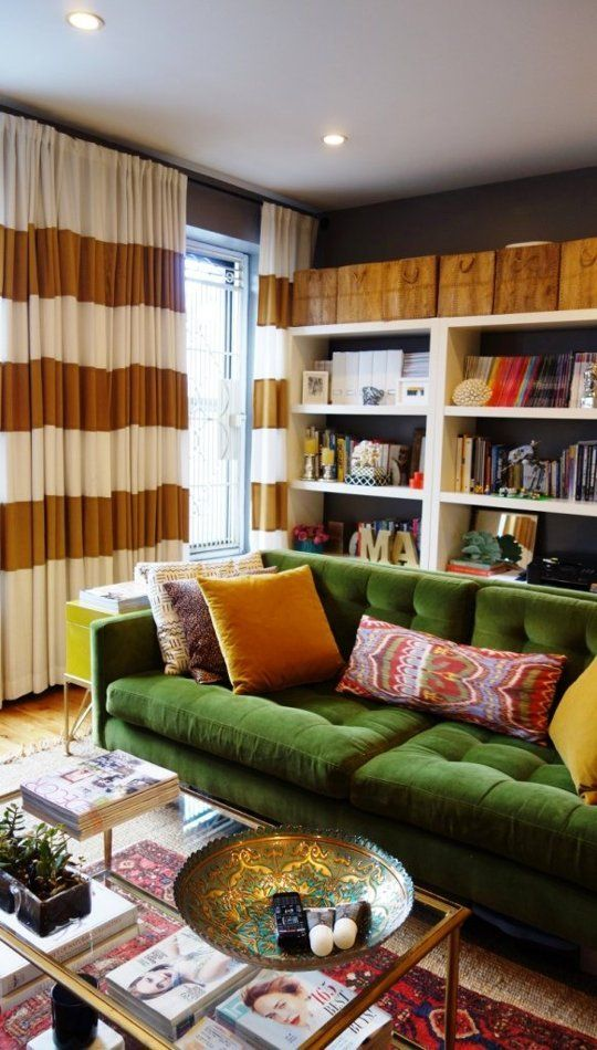 green sofas mid-century modern living room | Girlfriend is Better