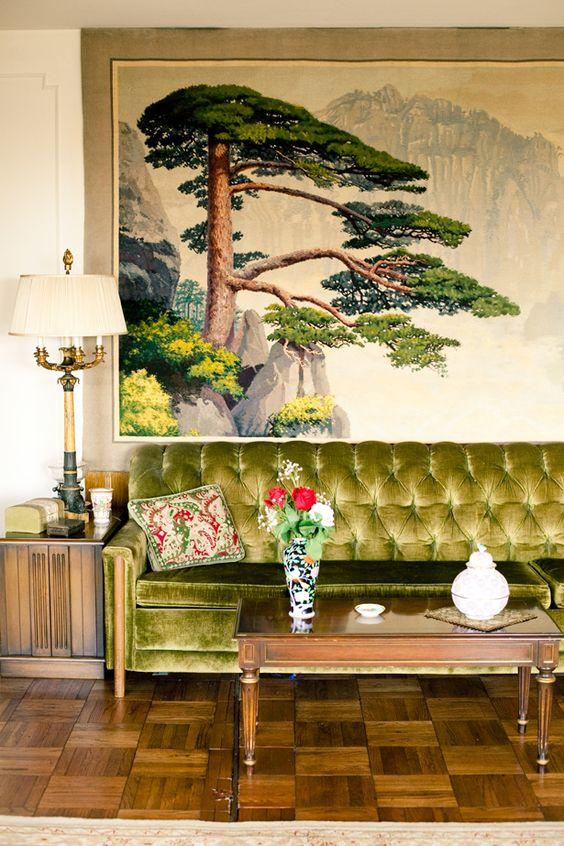 green sofas chinoiserie lime velvet wood element | Girlfriend is Better