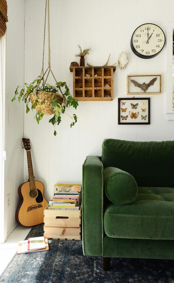 green sofas velvet Bohemian living room area rugs gallery wall | Girlfriend is Better