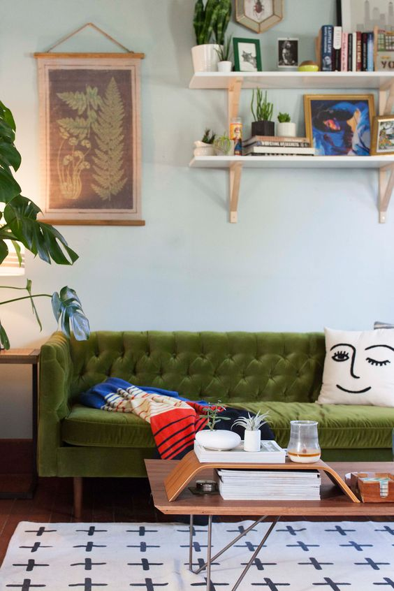 green sofas mid-century modern tufted velvet | Girlfriend is Better
