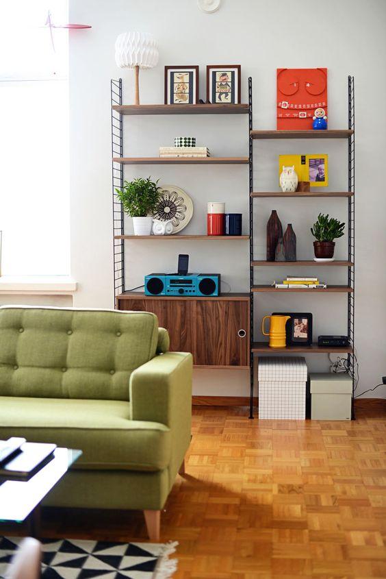 green sofas lime mid-century modern living room book shelf | Girlfriend is Better