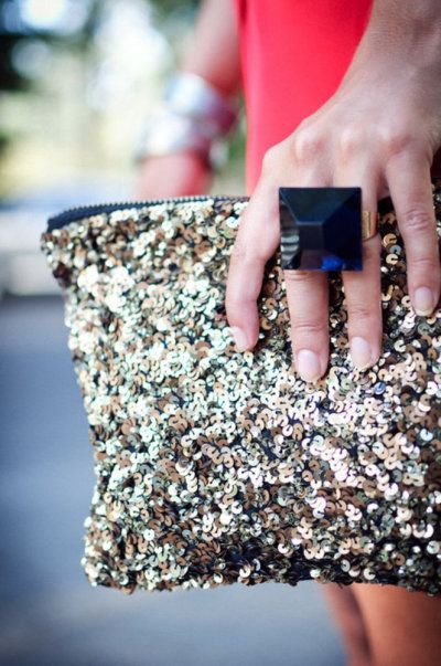 New Year outfit sequin clutch statement ring accessories | Girlfriend is Better