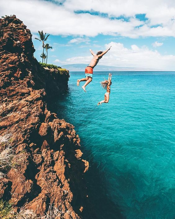 Oahu Hawaii kids cliff jumping ocean | Girlfriend is Better
