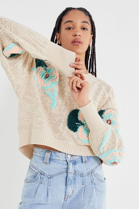 pretty Christmas sweater | relaxed boxy chenille embroidered floral cropped | Girlfriend is Better