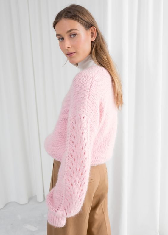 pretty Christmas sweater | blush pink open eyelet stitching balloon sleeves | Girlfriend is Better